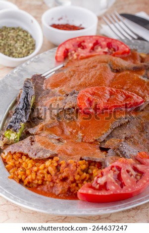 Turkish Kebab iskender doner - stock photo