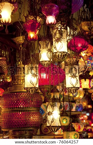 Turkish lamps at Grand Bazaar in Istanbul, Turkey - stock photo