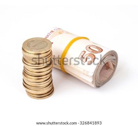 Turkish Lira banknotes and coins - stock photo