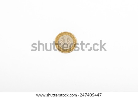 Turkish 1 Lira coin isolated money Currency  - stock photo
