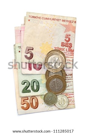 Turkish lira coins and folded banknotes - stock photo
