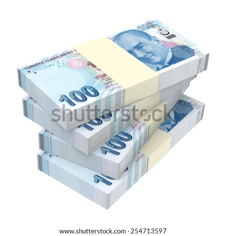 Turkish lira isolated on white background. Computer generated 3D photo rendering. - stock photo