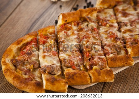 Turkish pide beef and cheese traditional pita - stock photo