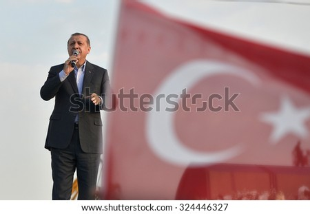 Turkish President Recep Tayyip Erdogan speaks at peace rally held in Istanbul, 20 September, 2015, Turkey, Istanbul - stock photo