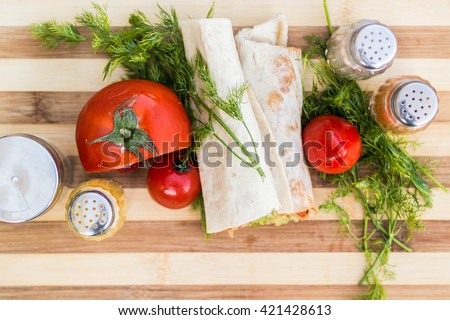 turkish shawarma kebab chicken wrap top view - stock photo