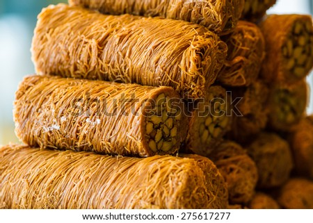 Turkish sweet baklava, also well known in middle east.  - stock photo