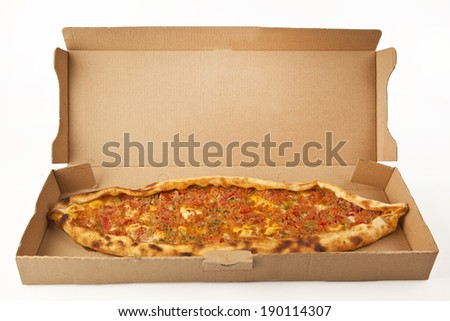 Turkish traditional beef Pide in pizza box isolated  - stock photo