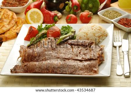 Turkish traditional doner kebap - stock photo