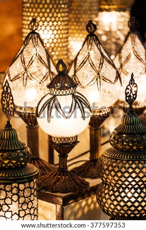 turkish traditional lamp with colorful lanterns in the Grand Bazaar in Istanbul - stock photo