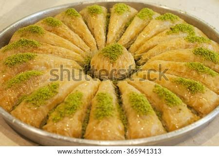 Turkish traditional ramadan pastry dessert baklava - stock photo