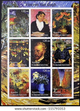 TURKMENISTAN - CIRCA 2001: stamps printed in turkmenistan, shows set of stamps with pictures of Vincent Van Gogh, circa 2001 - stock photo