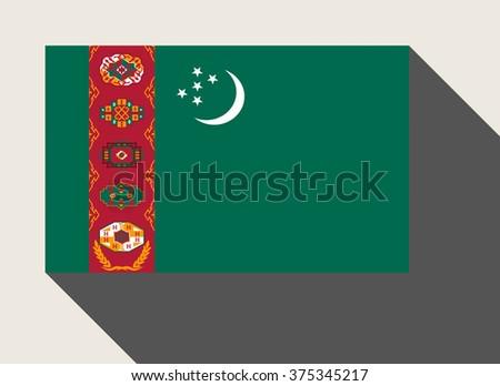 Turkmenistan flag in flat web design style. - stock photo