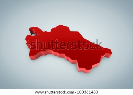 Turkmenistan Map - stock photo