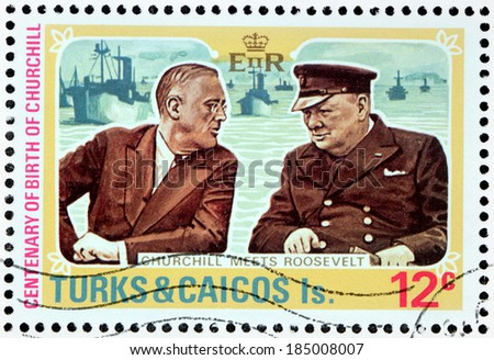 TURKS AND CAICOS ISLANDS - 1974: A stamp printed by GREAT BRITAIN shows image portraits of President of the United States Franklin Roosevelt and British Prime Minister Winston Churchill, circa 1974 - stock photo
