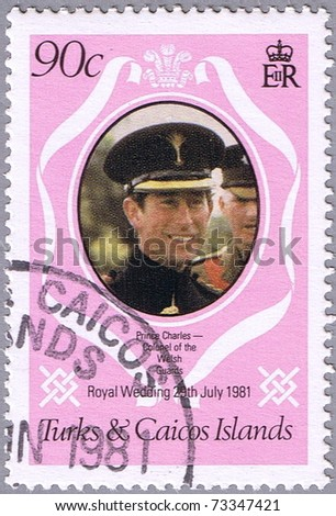 TURKS AND CAICOS ISLANDS - CIRCA 1981: A stamp printed in Turks and Caicos Islands shows portrait of Prince Charles, series is devoted to the royal wedding of Prince Charles to Lady Diana, circa 1981 - stock photo