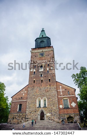 Turku Cathedral, the Mother Church of the Evangelical Lutheran Church of Finland, and the country's national shrine. - stock photo
