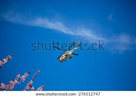 TURKU, FINLAND - MAY 09: Finnish ambulance helicopter in the sky. May 09, 2015 in Turku, Finland. - stock photo