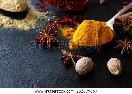 Turmeric and ginger in the spoons, food - stock photo
