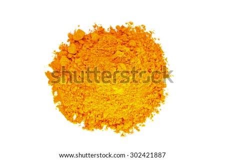 Turmeric (Curcuma) powder isolated on white background. - stock photo