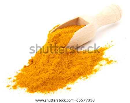 turmeric over the spoon,  isolated on white background - stock photo