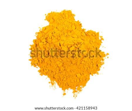Turmeric powder isolated on white background. - stock photo