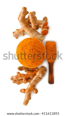 Turmeric roots with turmeric powder on white background - stock photo