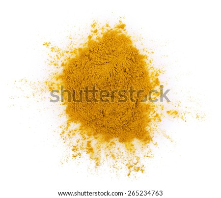 turmeric spice pile on a white background - stock photo