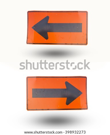 Turn left and turn right sign isolated on white background. - stock photo