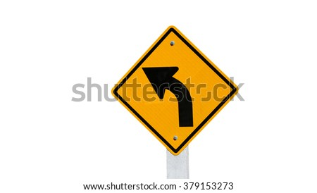 Turn left yellow road sign isolated on white background - stock photo