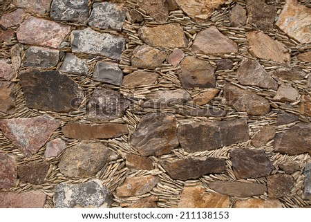 turn of the century Spanish wall construction method in Real de Catorce - stock photo