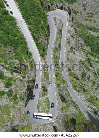 turn of the mountain road - stock photo