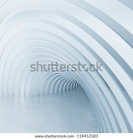 Turn of the shined corridor with columns and light making the way ahead - stock photo
