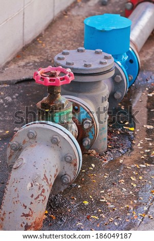 Turn off the water supply valve - stock photo
