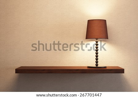 turn on table lamp on the empty shelf, 3D rendering - stock photo
