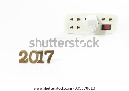 Turn on with multiple socket plug for New Year 2017 - stock photo