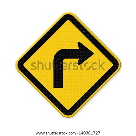 Turn right yellow road sign isolated on white background with clipping path. - stock photo