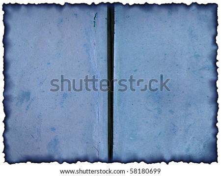Turn the old, burnt books - illustration.  Vintage blue background - template for design - stock photo