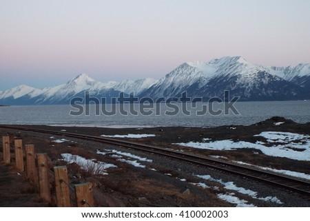 Turnagain Arm along Hwy 1, Alaska  - stock photo