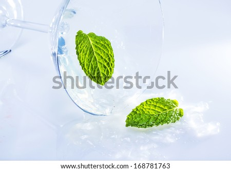 Turned over martini glass with mint leaves . - stock photo