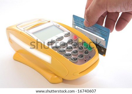 Turning credit cards through POS for sale - stock photo