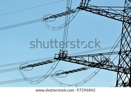 Turning high voltage line - stock photo
