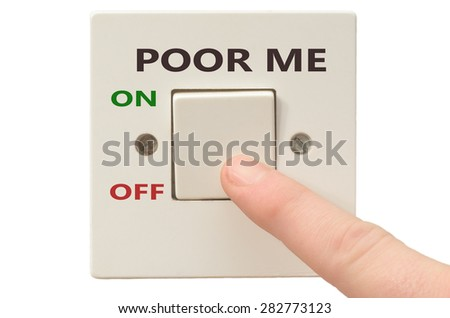 Turning off Poor me with finger on electrical switch - stock photo