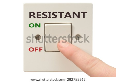 Turning off Resistant with finger on electrical switch - stock photo