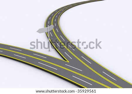 turning point in life, never know what tomorrow brings, having kids, crossroad on a highway, abstract crossroad, lanes merging, different paths in life, breaking up - stock photo