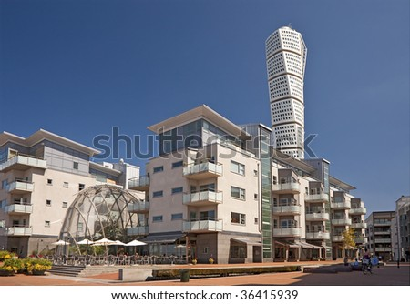 Turning Torso in Western harbor Sweden - stock photo