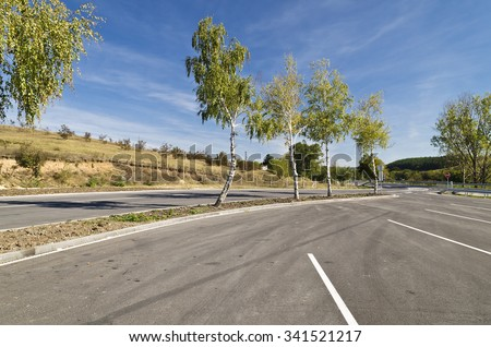 Turnoff on the road near the town of Razgrad - stock photo