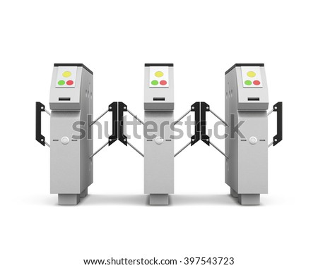Turnstile front isolated on white background. 3d rendering. - stock photo