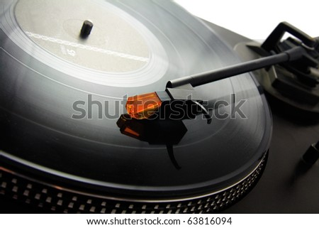 turntable and vinyl record - stock photo