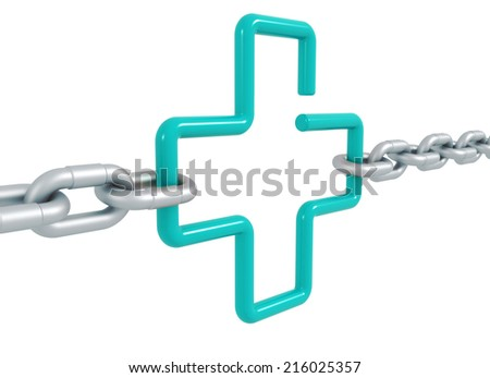 Turquiose link cross symbol locked with metal chains - 3d front illustration render isolated - stock photo
