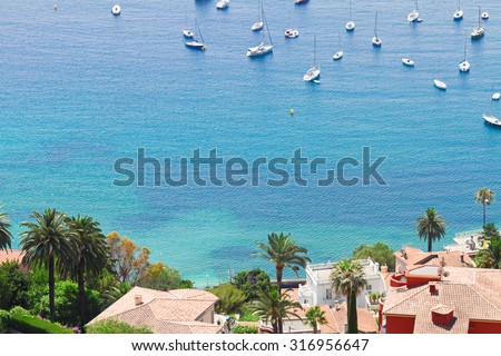 turquiose water of cote dAzur coast from above, France - stock photo